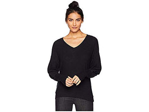 Michael Stars Women's Madison Brushed Jersey Puffed Sleeve v-Neck with Thumbholes, Black, Small