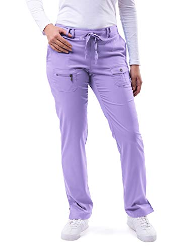 Adar Uniforms Women's Scrub Set - Enhanced V-Neck Top/Multi Pocket Pants - 4400 - Lavender - 3X