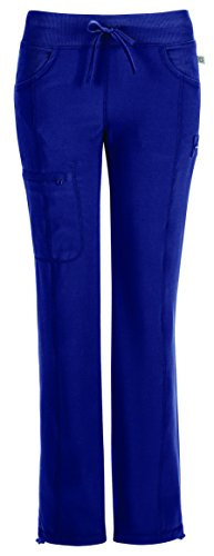 CHEROKEE Infinity Women's Scrub Set - 2624A Round Neck Top & 1123A Low Rise Straight Leg Drawstring Pant, Navy, Small
