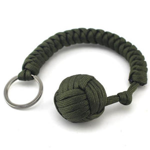 hanging hand-woven round steel ball self-defense seven core umbrella rope climbing survival key chain