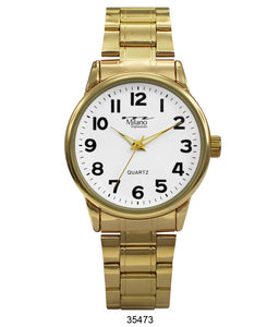 M Milano Expressions  Gold Metal Band Watch with Gold Case White Dial
