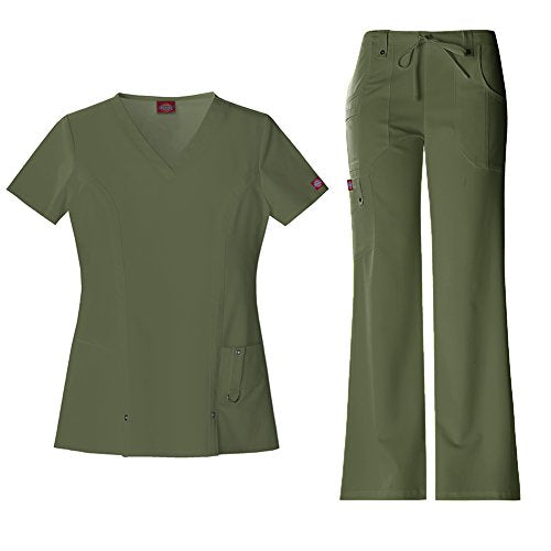 Dickies Xtreme Stretch Women's 82851 V-Neck Top & 82011 Drawstring Pant Medical Uniform Scrub Set (Olive - Large)