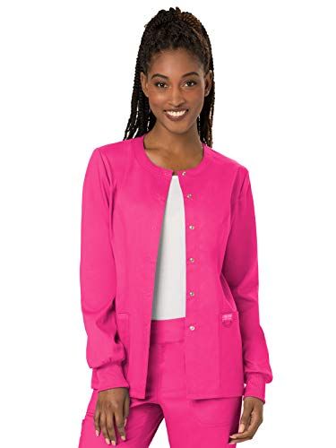 CHEROKEE Workwear WW Revolution Snap Front Jacket, WW310, M, Electric Pink