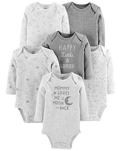 Carter's Unisex Baby Long-Sleeve Bodysuits (24 Months, 6 Pack Neutral)