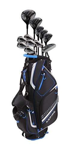 19 Piece Men's Complete Golf Club Package Set with Titanium Driver, 3 Fairway Wood, 3-4-5 Hybrids, 6-SW Irons, Putter, Stand Bag, 5 H/C's - Choose Options! (Regular Size, Adjustable Driver)