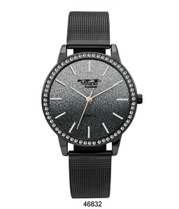 M Milano Expressions Black Mesh Band Watch with Black Case Black Glitter Dial