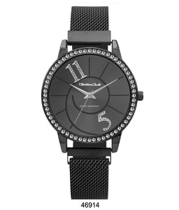 Montres Carlo Black Stainless Steel Mesh Band Watch with Magnetic Strap