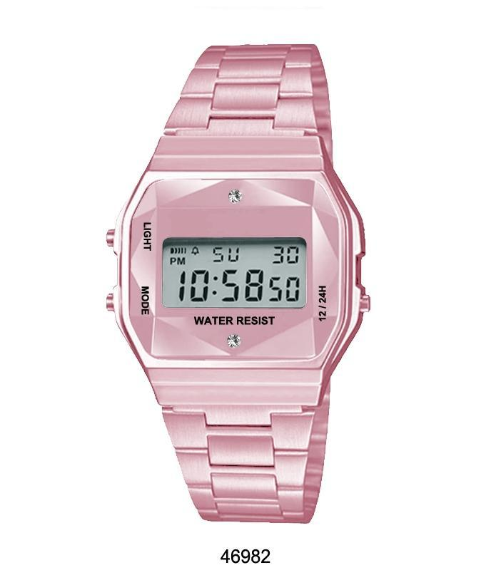 Pink Sports Metal Band Watch with Pink Metal Case and Pink Crystal Cut LCD Display