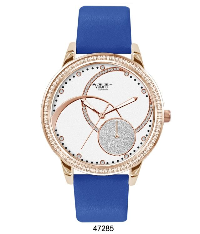 M Milano Expressions Blue Silicon Band Watch with Silver Case and White Abstract Dial with Silver Accents