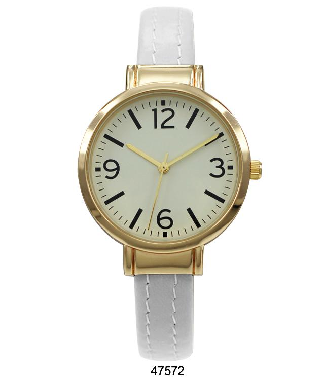 White Vegan Leather Cuff Watch with Gold Case and Gold Dial