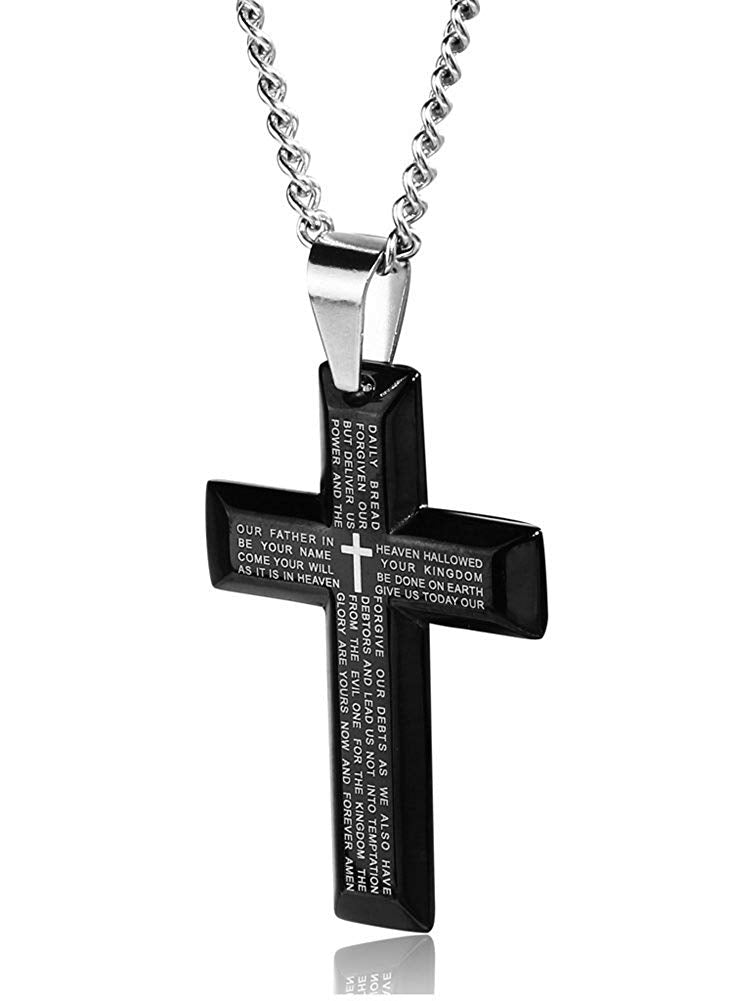Jstyle Jewelry Men's Stainless Steel Simple Black Cross Pendant Lord's Prayer Necklace 22 24 30 Inch