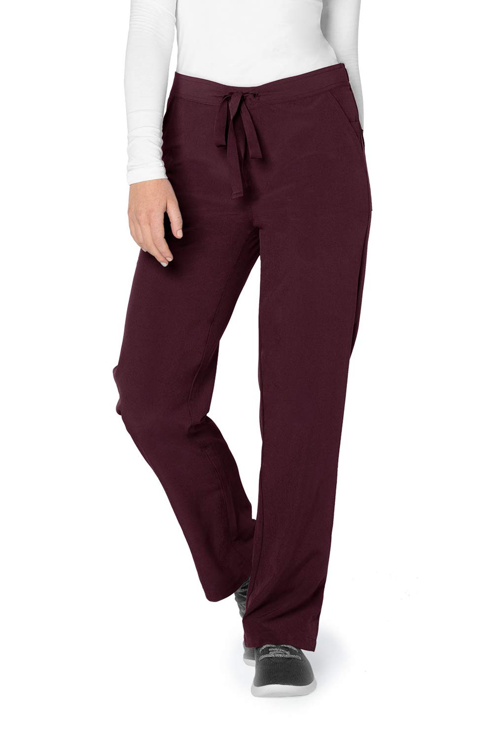 Adar Addition Scrub Set for Women - Mock Wrap Scrub Top & Drawstring Scrub Pants - A9100 - Merlot - XXS