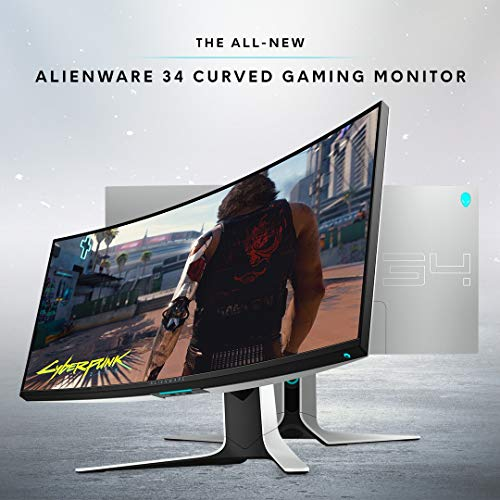 Alienware NEW Curved 34 Inch WQHD 3440 X 1440 120Hz, NVIDIA G-SYNC, IPS LED Edgelight, Monitor - Lunar Light, AW3420DW