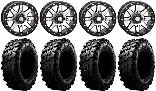 "Bundle - 9 Items: STI HD9 15"" Bdlk Wheels MH (6+1) 29"" Carnivore Tires [4x137 Bolt Pattern 12mmx1.5 Lug Kit]"