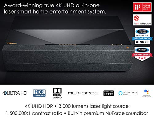 Optoma CinemaX P1 4K UHD Laser TV Home Theater Projector | Bright 3000 Lumens | Ultra Short Throw | Integrated NuForce Soundbar | Stream Netflix and Prime Video | Works with Alexa and Google, Black