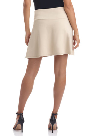 Rekucci Women's Ease in to Comfort Wide Waist Flared Flippy Skirt.