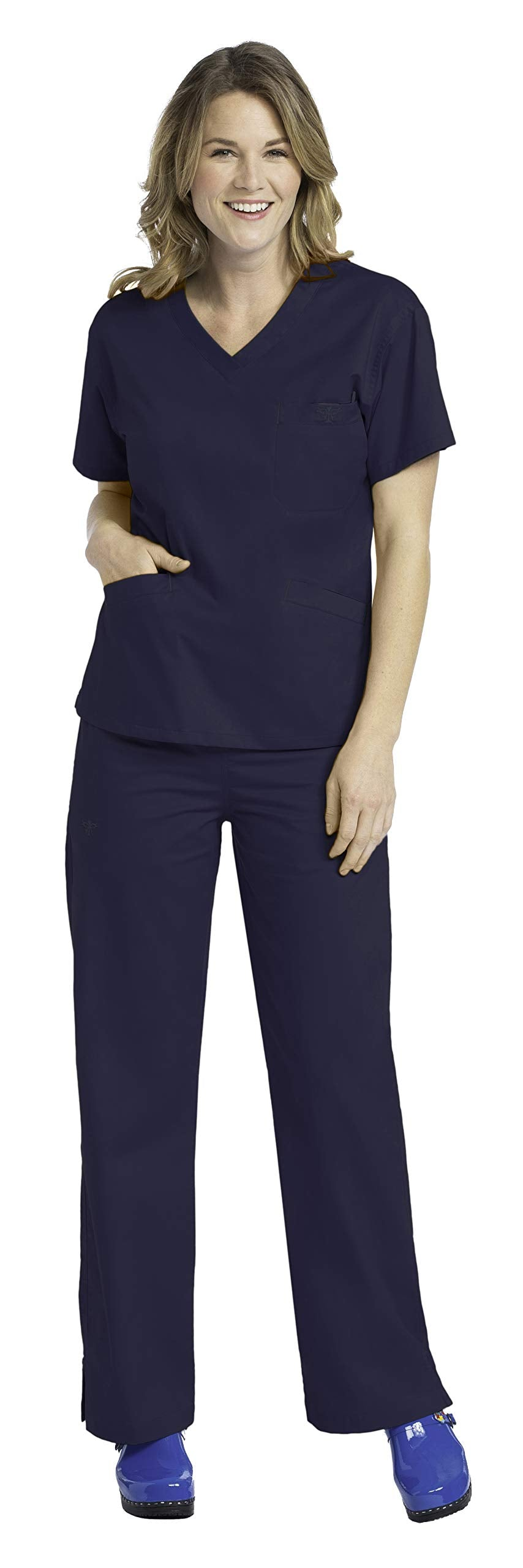 Med Couture Signature Women's Medical Uniforms Scrub Set Bundle- 8403 V-Neck Top & 8705 Drawstring Pants (New Navy - Small/Small Petite)