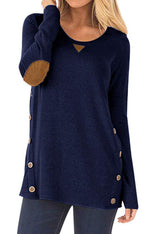 DEARCASE Womens Loose Long Sleeve Tops Crew Neck Casual Blouse Tunic Tops Navy Blue X-Large