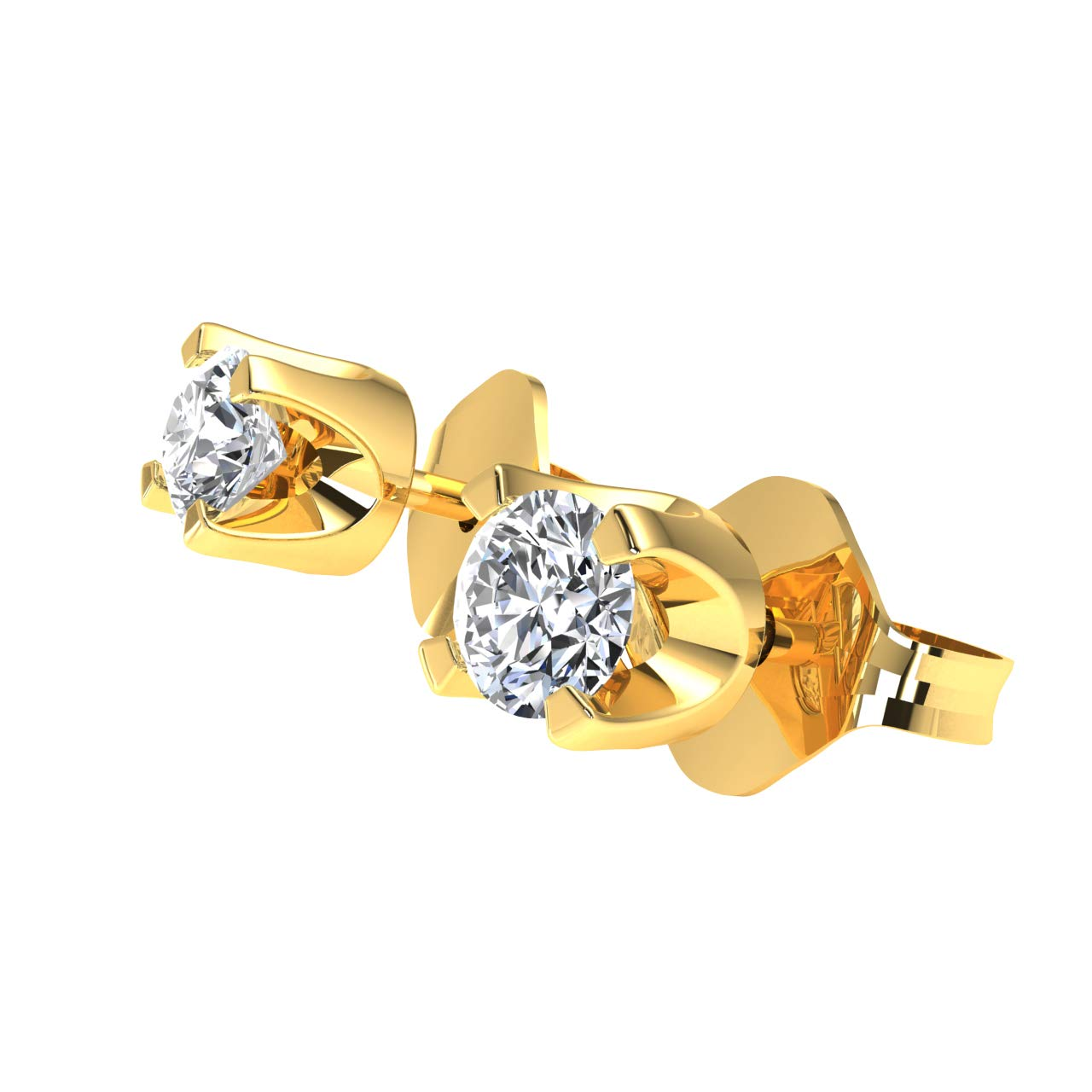 Jewelry for Women JewelWeSell 14K Yellow Gold Classic Solitaire Stud Earrings For Women 0.22 cttw Round Real Diamond (I3 Clarity) Prong Setting