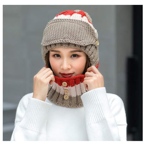 NEEDOON 3 in 1 Winter Scarf Hats Mask Set for Women, Knitted Hat Ear Muffs Neck Warmer with Detachable Mask and Slouchy Beanie Pom Pom for Girls Fashion Beauty Christmas Gift for Girls(Brown)