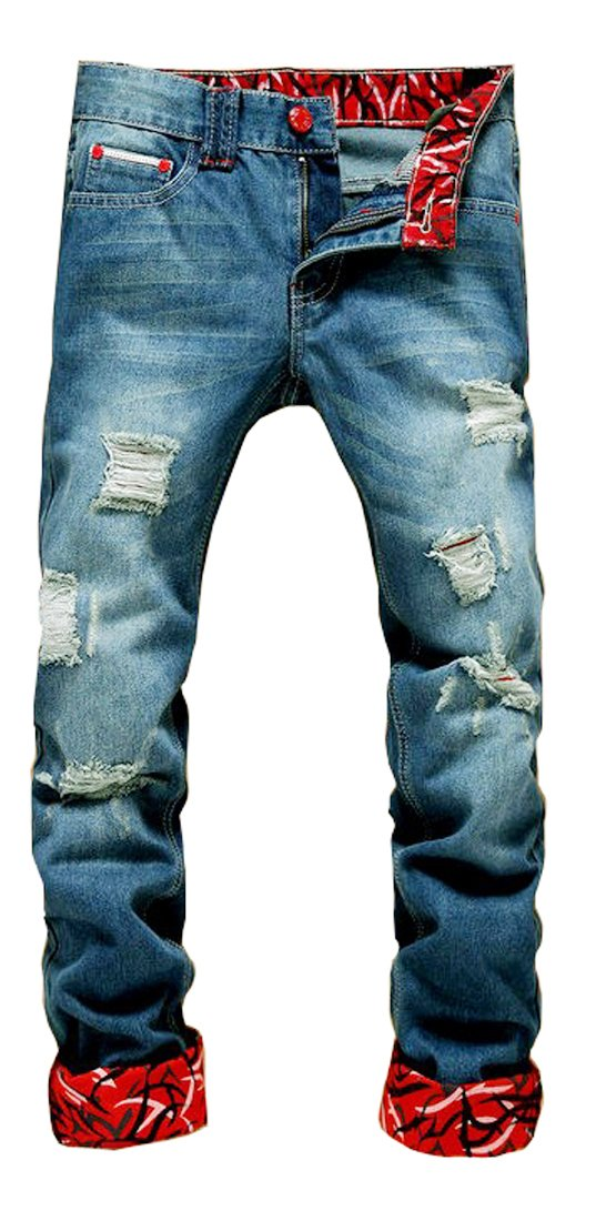 Men's Ripped Slim Fit Tapered Leg Jeans