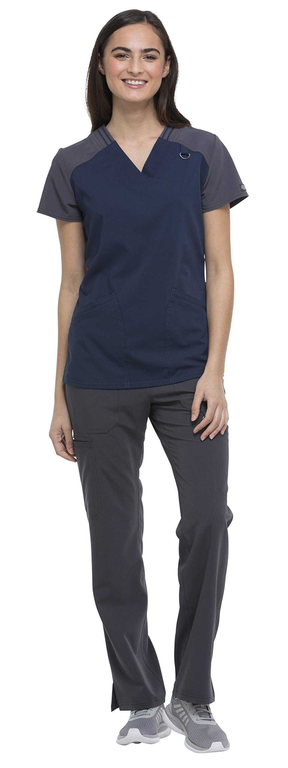 Dickies Xtreme Stretch Women's Medical Uniform Scrub Set Bundle - DK655 Contrast V-Neck Top & DK020 Rib Knit Drawstring Pants (Navy/Pewter - Large/Large)