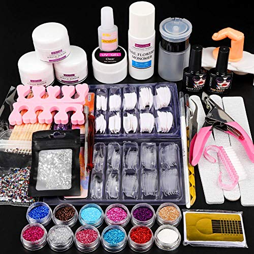 12 Glitter Acrylic Powder Kit Nail Art Tips Gel Polish Nail kit Nail Art Decoration Set Acrylic Nail Tools