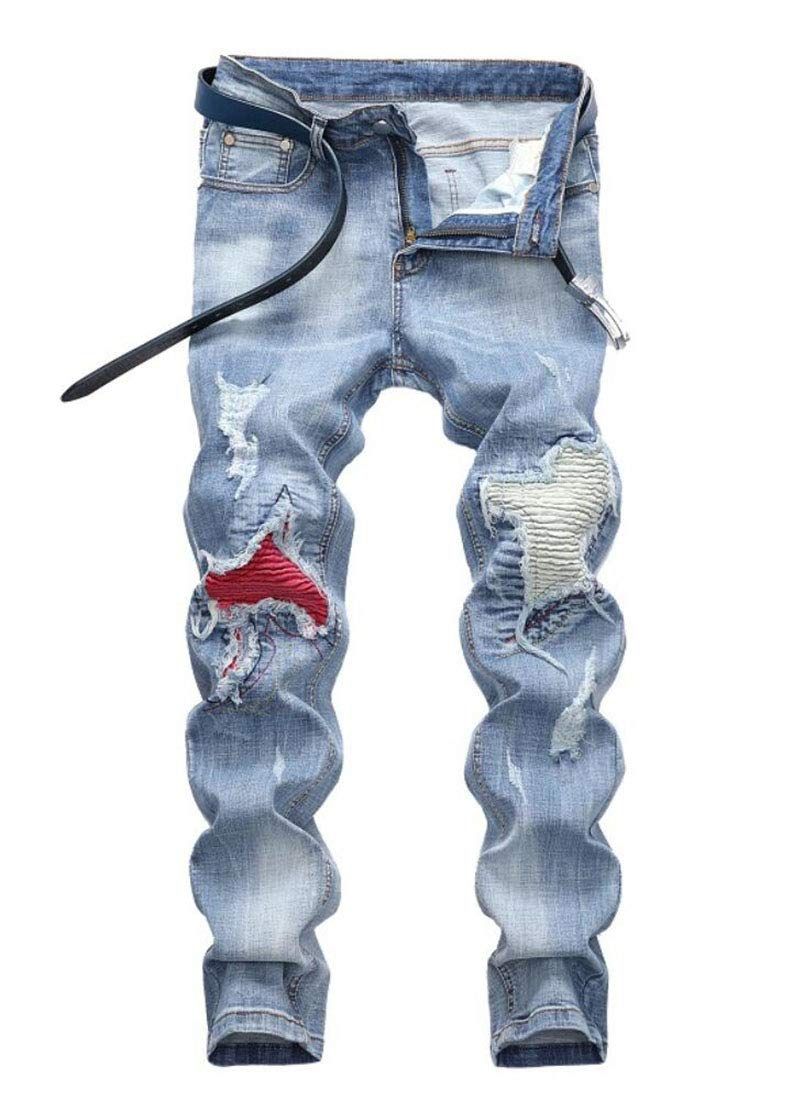 Men's Fashion Biker Jeans Light Blue