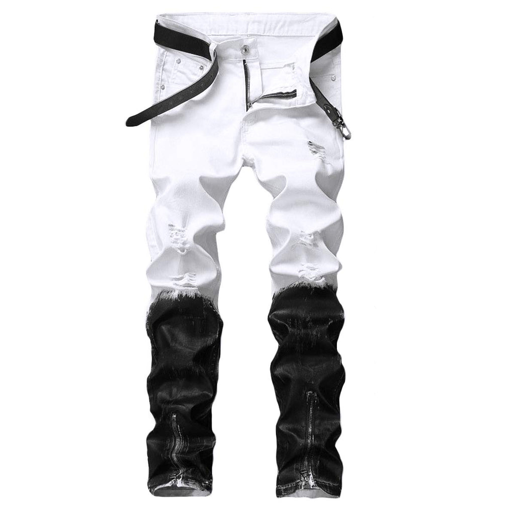 Men's Stretch Biker Ripped Jeans with Zipper Straight Fit Denim Pants White