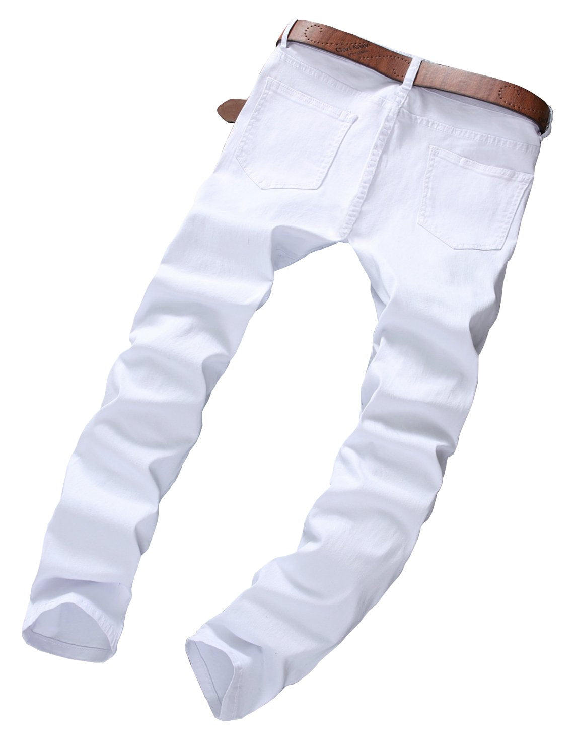 Slim Fit Stretch Destroyed Ripped Skinny Denim Jeans White