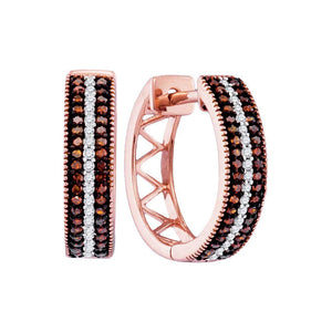 Brandy Diamond Dark Chocolate Brown 10K Rose Gold Diamond Hoop Earrings 1/3 Ctw.