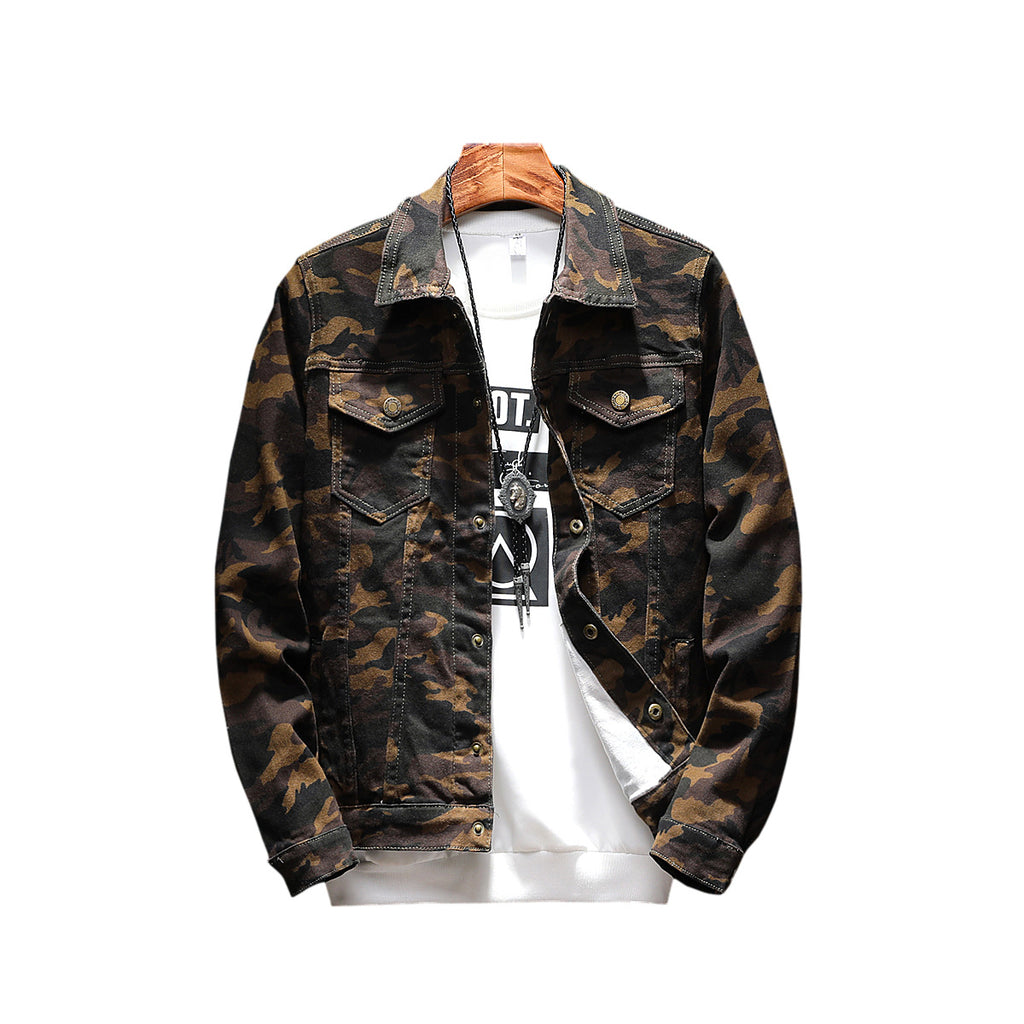 New Men Camouflage Denim Jacket