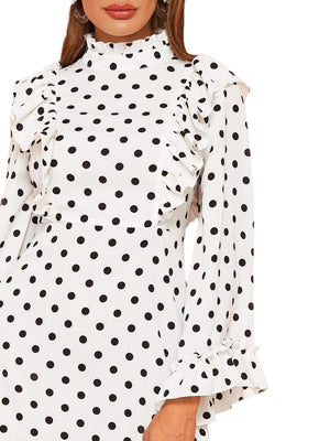 Elegant Polka Dot Mock Neck Ruffle Trim Long Sleeve Midi Dress White XS