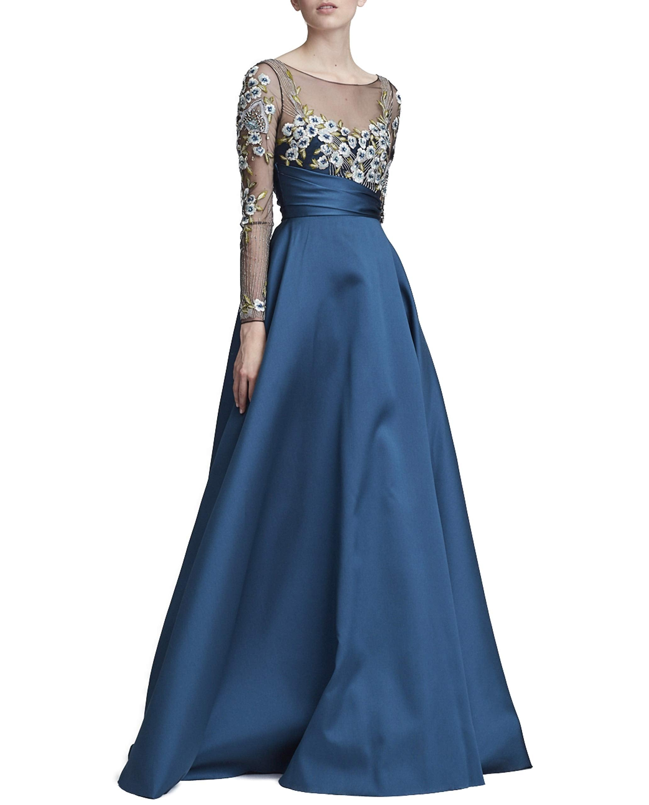 Marchesa Notte Women's Long Sleeve Mikado Ball Gown 16 Teal