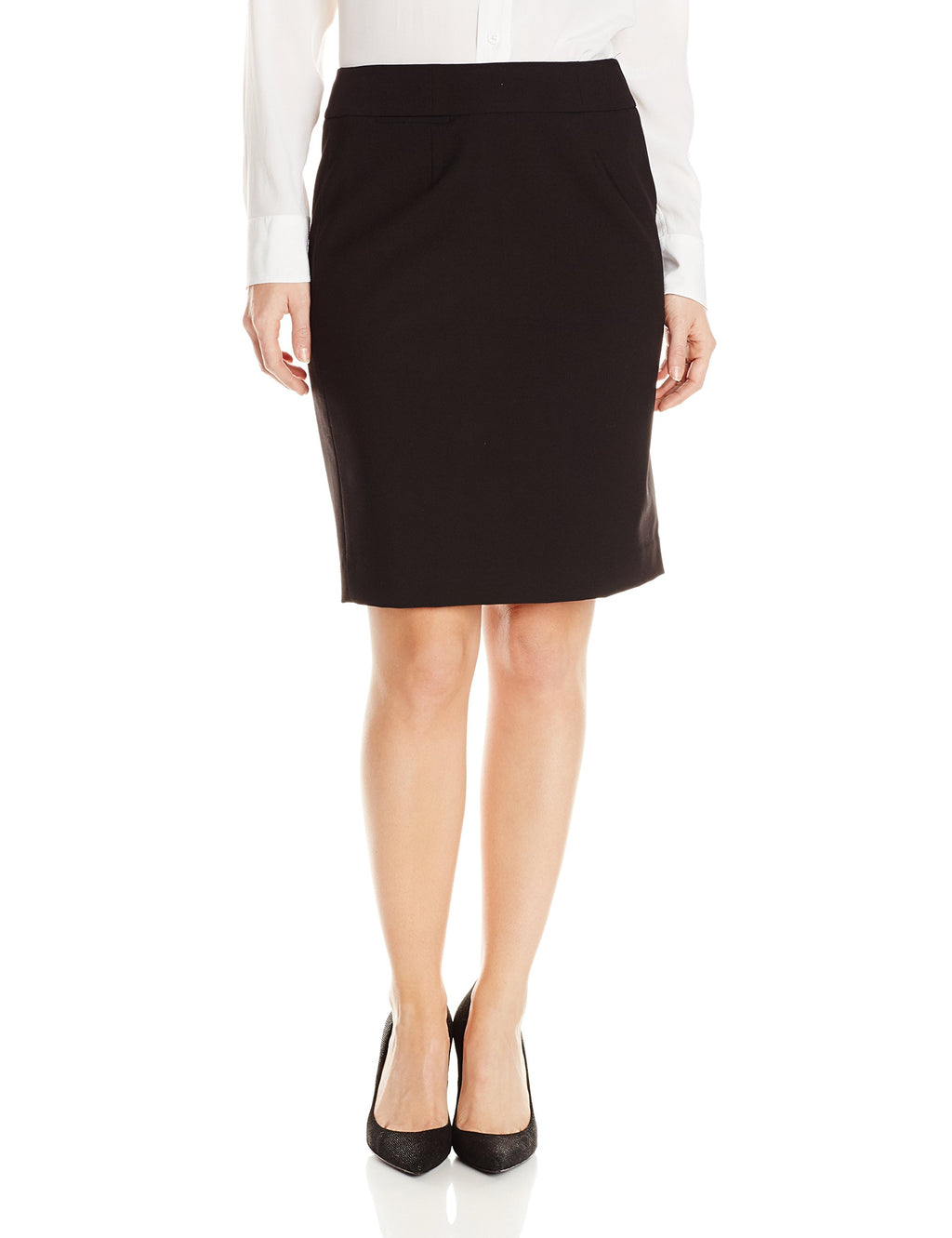 Calvin Klein Women's Petite Lux Straight Skirt, Black, 12