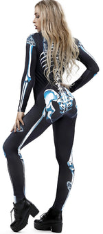 Women 3D Skeleton Cosplay Jumpsuit Bodysuit