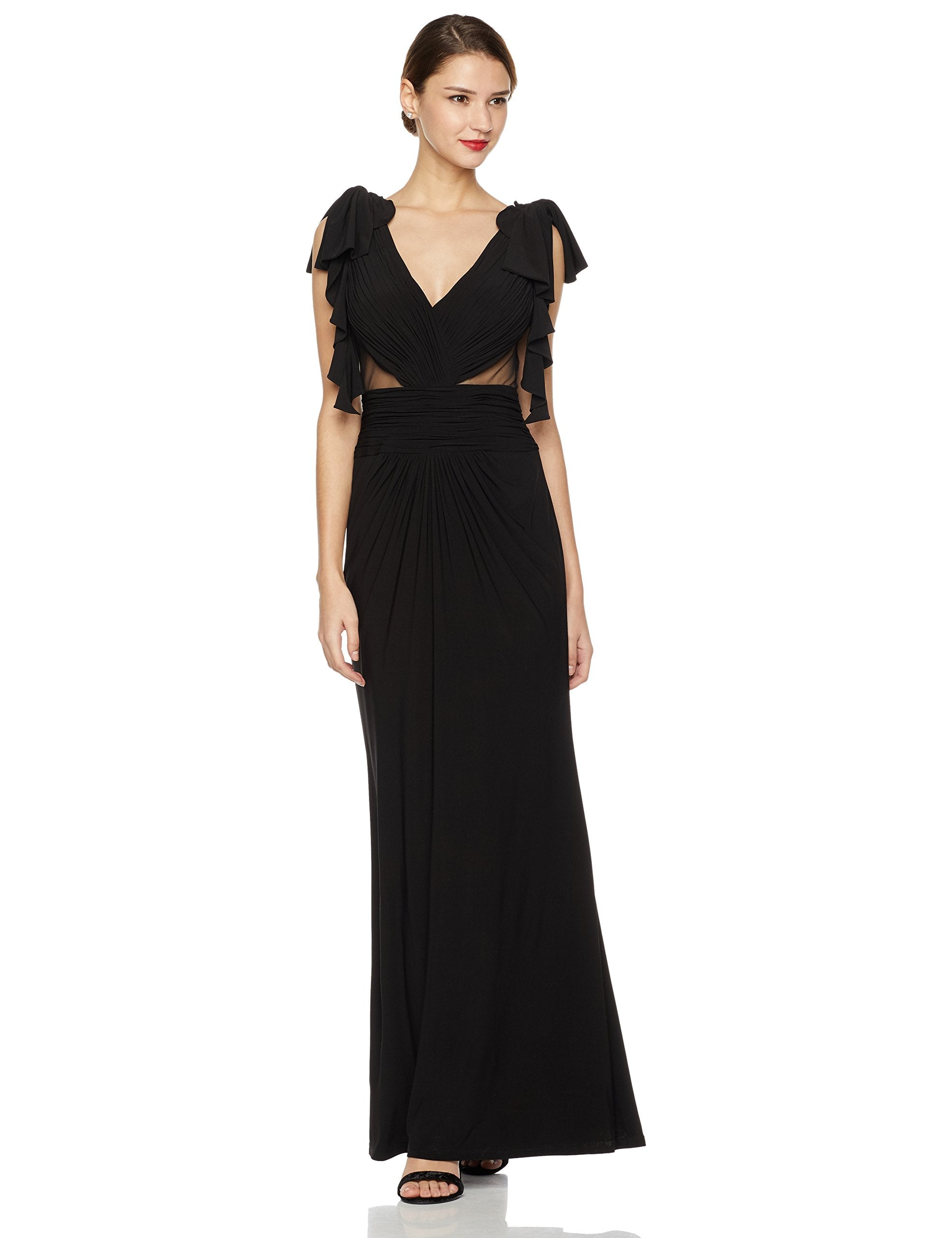 Women's Gathered V-Neck Ruffle Sleeve Sheer Inset Gown