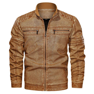 Classic Leather Jacket Big Size Solid Color