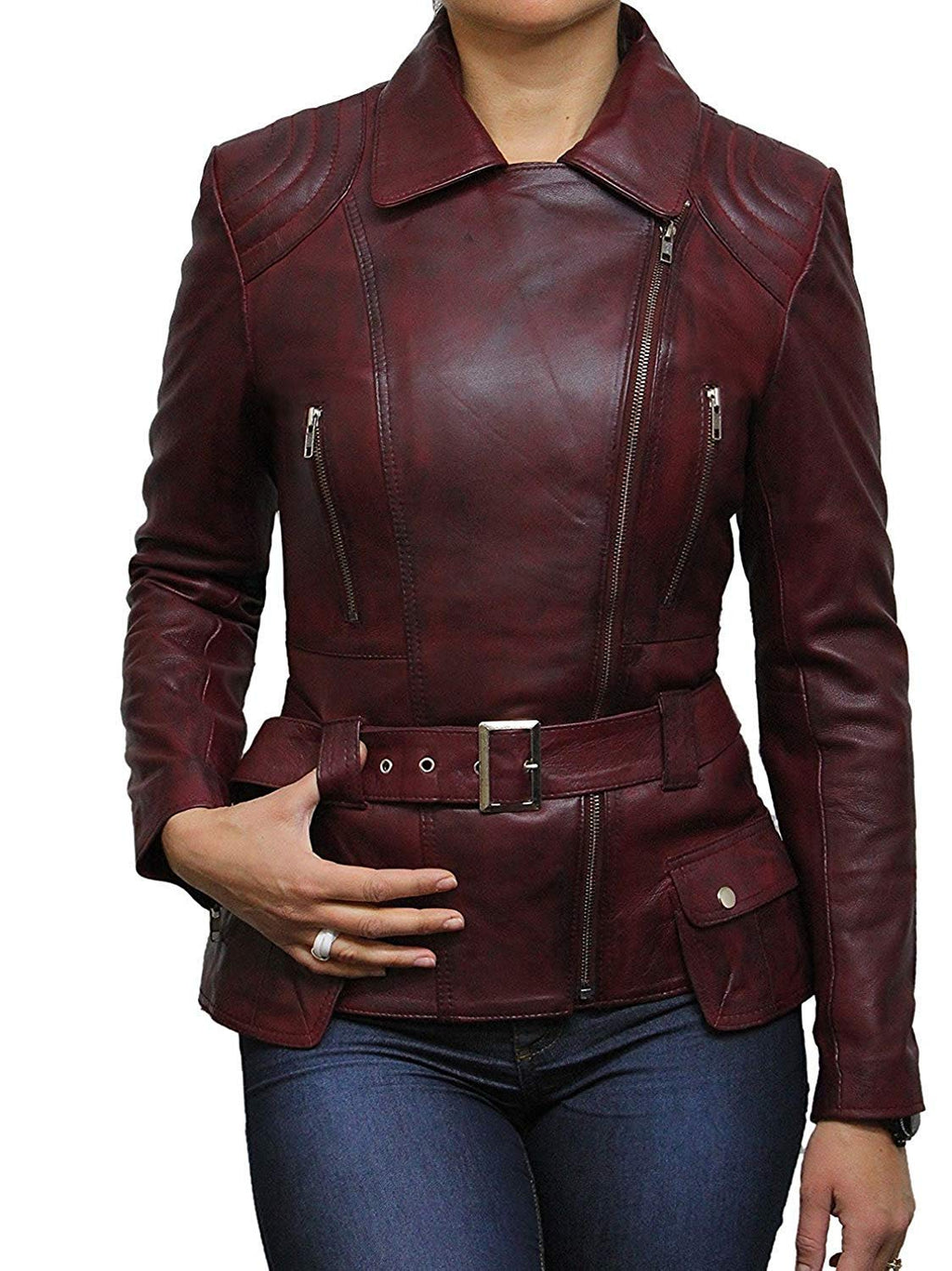 "BRANDSLOCK Womens Classic Leather Biker Jacket Genuine Goat Skin (3XL / 20 - (Fits Chest: 41-43""), Burgundy)"