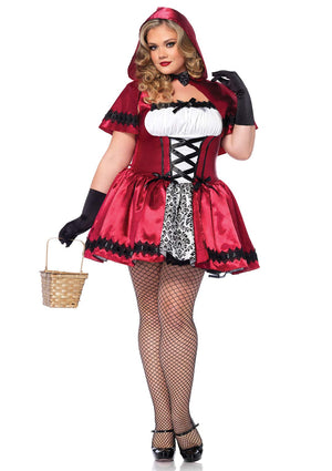 2 Piece Gothic Red Riding Hood Plus Size Costume