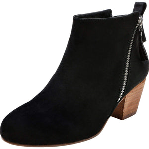 Low Chunky Block Stacked Heel Side Zipper Round Toe Booties. shefanc.com