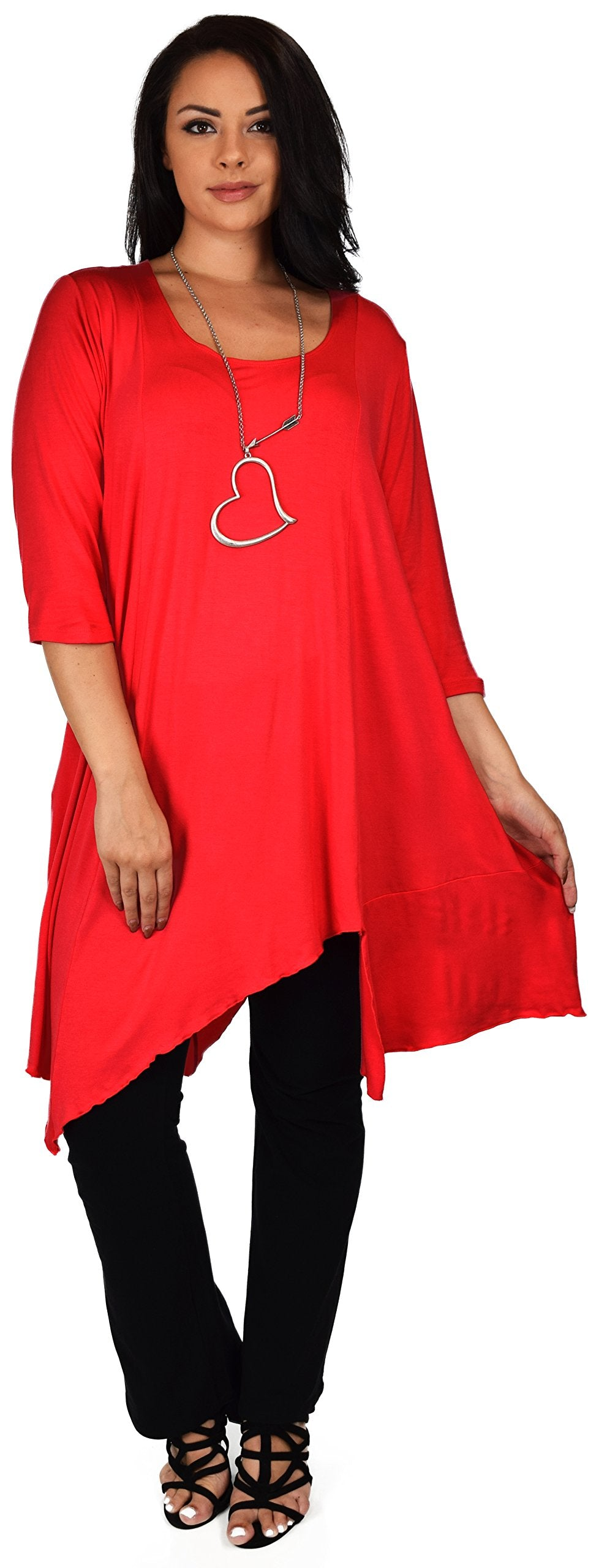 Women Plus Size Asymmetrical Long Tunic Shirt Dress Top. shefanc,com