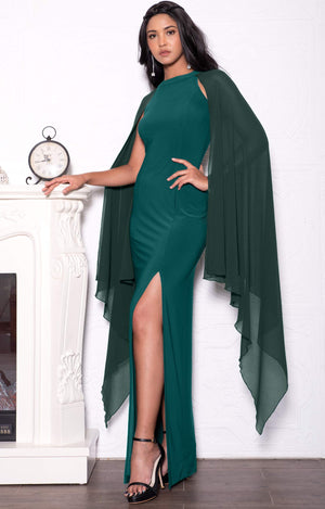 Plus sized Formal Elegant Evening High Slit Full Floor Length Bridesmaid Prom Gown