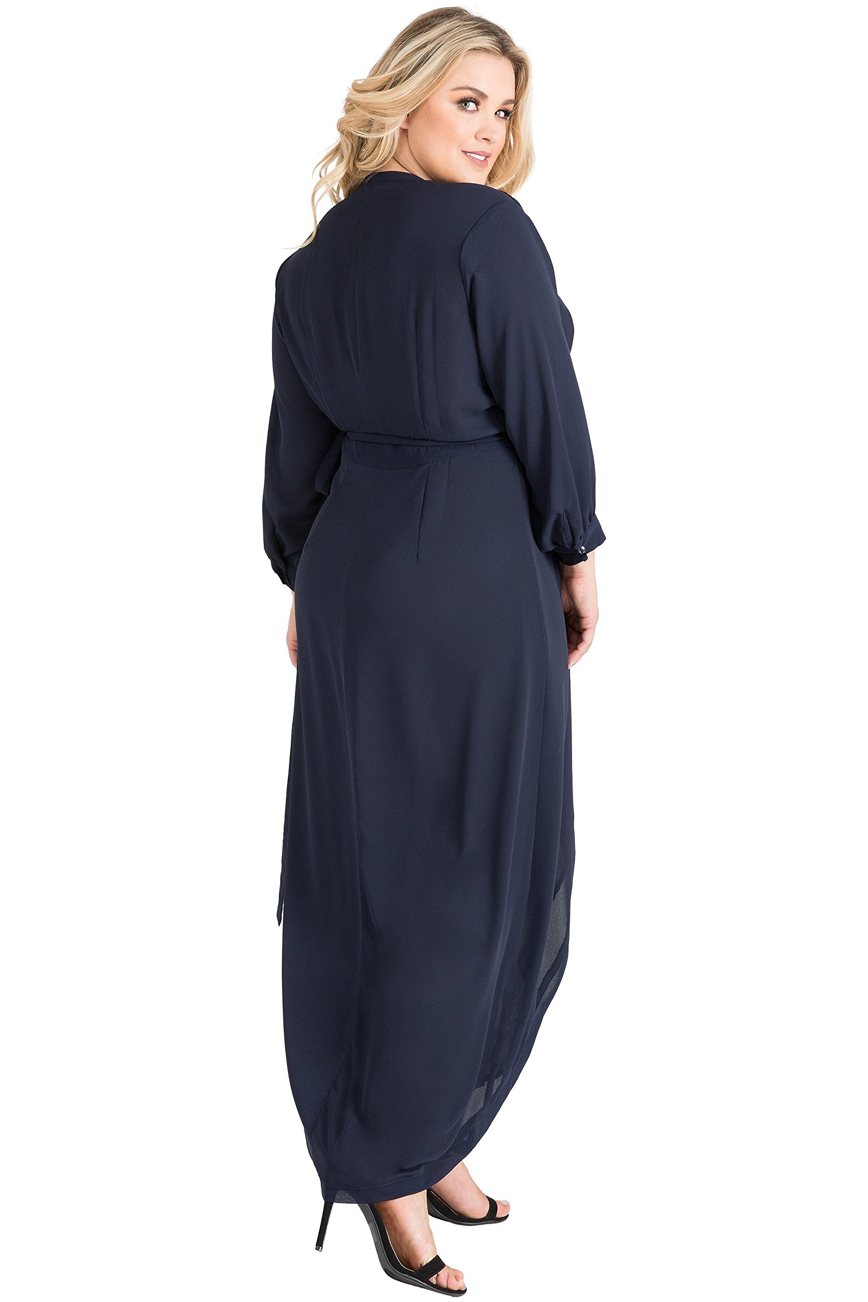 Plus Size Women's Blue Tulip Chiffon Wrap Dress Size