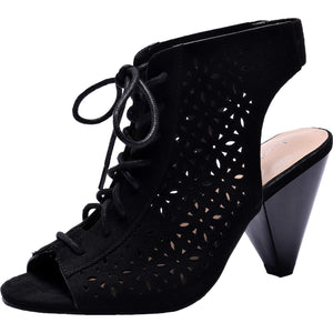 Lace up Open Toe Cone Heel Suede Boots. shefanc.com