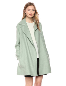 Theory Women's Double Faced Overlay Coat, Opal Green Melange, S
