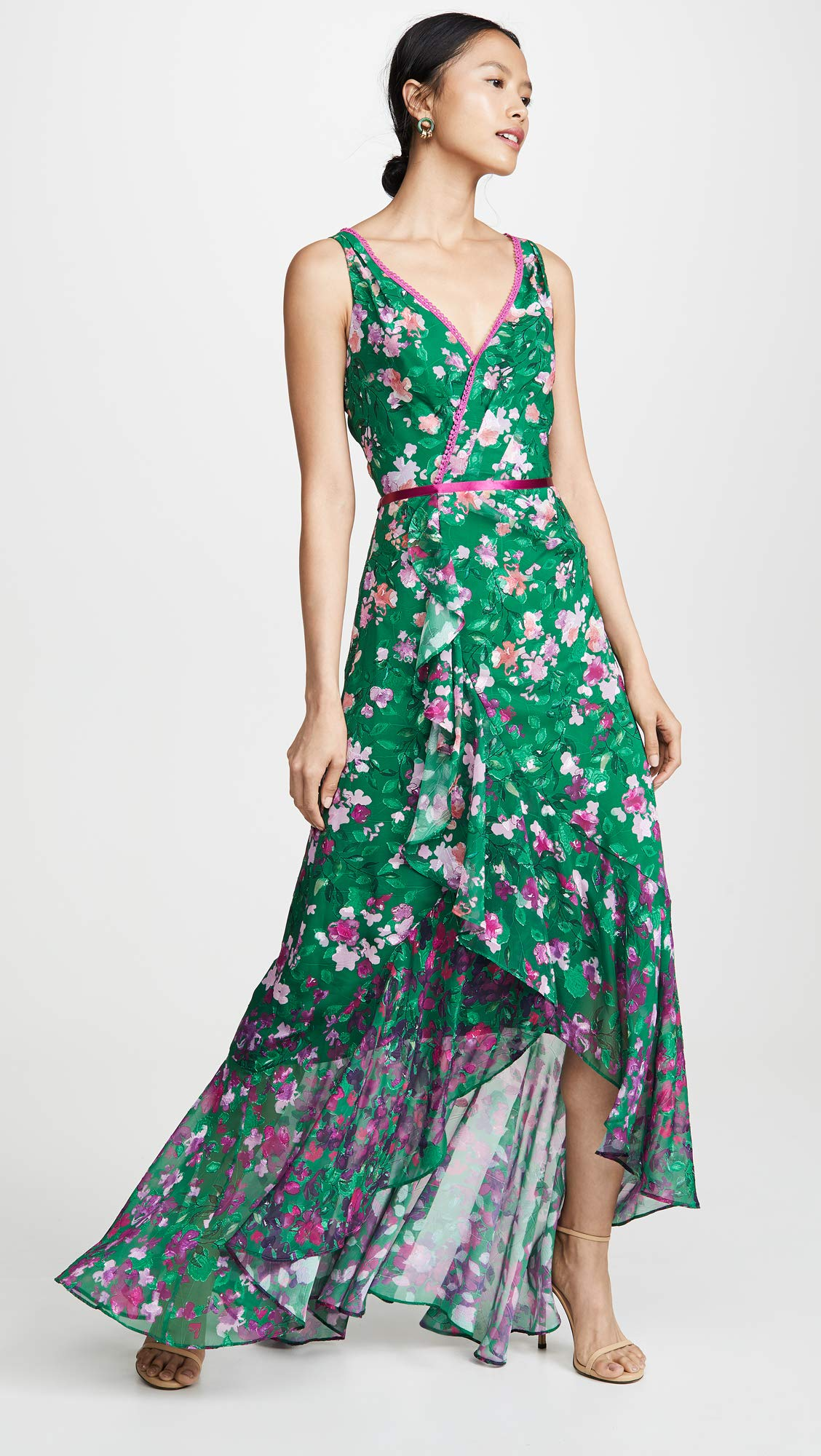 Marchesa Notte Women's Floral High Low Gown