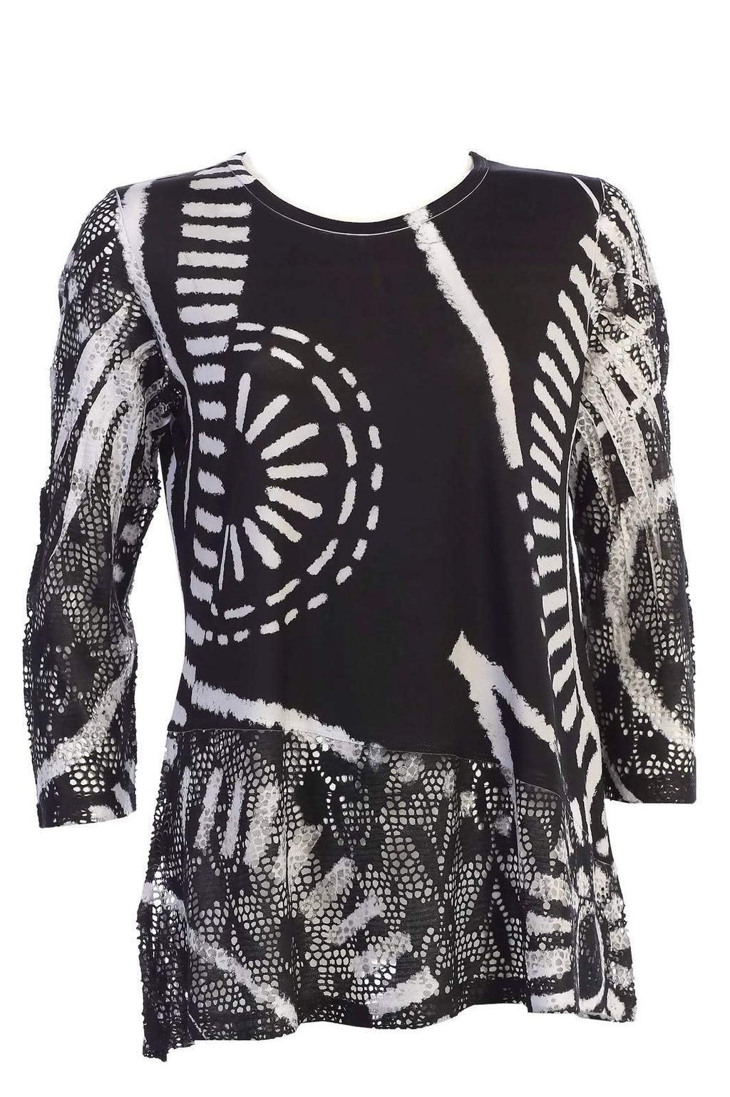 Women's Travel Crochet Mesh Contrast Tunic Top.