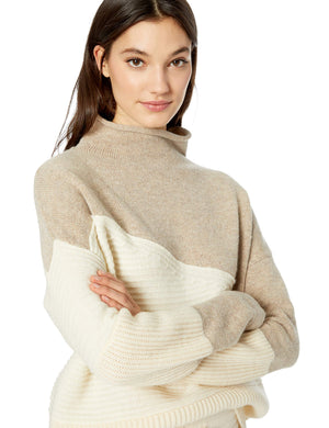 French Connection Women's Patchwork Multi Color Sweater, Light Oatmeal, M