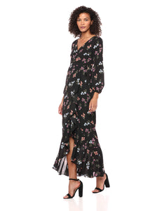 LIKELY Women's Perla Floral Printed Maxi Dress, Black/Multi, 6
